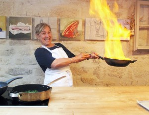 Flambeeing gambas in Provence