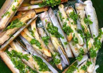 Razor clams with Fresh Herbs